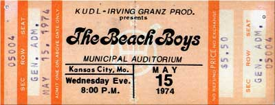 Ticket to Beach Boys Concert May 15, 1974